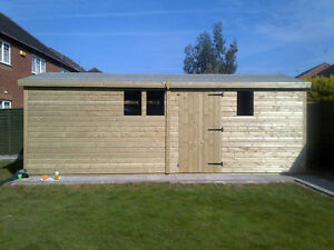 18X12FT LARGE WOODEN GARDEN SHED HEAVY DUTY SUMMER HOUSE 19MM  OFFICE FOR SALE