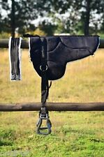 New Non slip Bottom Micro suede  BAREBACK PAD with free girth and stirrups BLACK