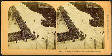 "1889 NEW YORK CITY PARADE CROWD ""CENTENNIAL EXPOSITION"" WORLD'S FAIR~STEREOVIEW"