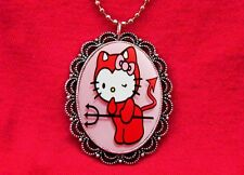 HELLO DEVIL KITTY CAT PENDANT NECKLACE GOTH KAWAII