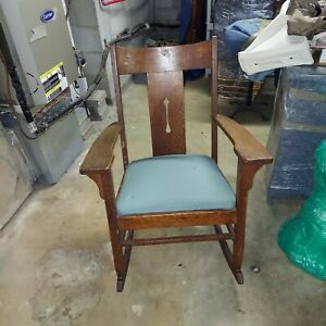 Antique oak mission rocking chair