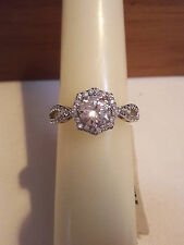 Brand New 925 Sterling Silver Rhodium Plated  CZ wedding/Bridal Ring Size 9