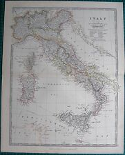 1880 ANTIQUE MAP - ITALY,WITH CORSICA,SICILY,SARDINIA