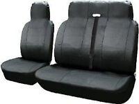FORD TRANSIT CUSTOM 2013+ LEATHER LOOK BLACK VAN SEAT COVERS SINGLE & DOUBLE 2+1