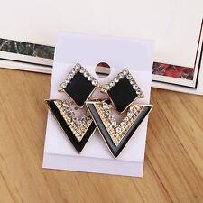 Fashion Jewelry Elegant Triangle Earrings Crystal Gold Plated Women Ear Stud