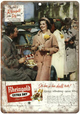 """Rheingold Extra Dry Lager Beer Vintage Ad 10"""" x 7"""" Reproduction Metal Sign E226"""
