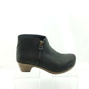 Dansko Raina Oiled Black Leather Ankle Booties Side Zip Size 37 EU 6.5 - 7 US