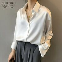 silky satin button down shirt long sleeve formal blouse various sizes S M L