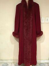 Marvin Richards Women's Church Winter fox fur tuxedo Lambswool long coat size 14