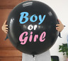"XL Gender Reveal Black 36"" Balloon Baby Girl Pink & Baby Boy Blue Confetti inc"