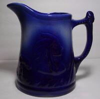 VINTAGE LARGE BLUE IRONSTONE ENGLAND 1890 ART POTTERY PITCHER JUG INDIAN TEEPEE