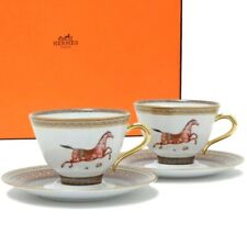 Hermes Porcelain Tea Cup Saucer 2 set Cheval d'Orient Horse Tableware New No,3