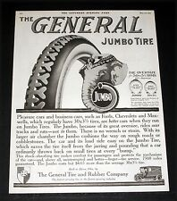 1919 OLD MAGAZINE PRINT AD, GENERAL JUMBO TIRES, FOR PLEASURE AND BUSINESS CARS!