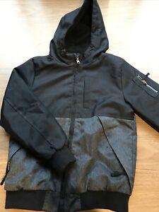 Boys Black & Grey Fleece Lined Hooded Coat Jackets By Primark Age 9-10 Years
