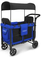 Wonderfold W2 Multi Function 2 Passenger Folding Double Stroller Wagon Blue NEW