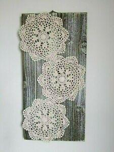 "Handmade Crocheted 3 round pattern on wood base 20"" x 10"", Wall Art Decor"