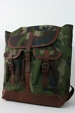 LL Bean Signature Leather Canvas Camo CamouflageSport Hunting Travel Backpack