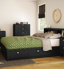 2 Piece Black Full Size 4 Storage Drawers Platform Bed Set Bookcase Headboard