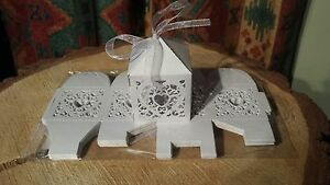 "Stunning Job lot of White Pearlescent 2.75"" Wedding Favour Boxes with Ribbon"