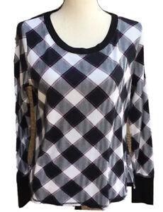 Victoria's Secret plaid cotton sweatshirt top S Long Sleeve Black Gray