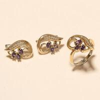 Natural Russian Purple Zircon Ring Earrings 925 Sterling Silver Turkish Jewelry
