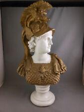 Rare Vtg Design Toscano ATHENA Goddess of War Wisdom Bust Statue Gold Armor