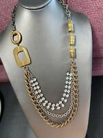 Vintage Necklace Signed Chicos Detailed Glass rhinestone Long 3 Chain Statement