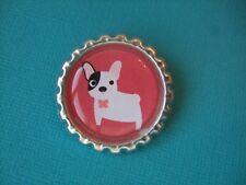Handmade French Bulldog Brooch Bottle Cap Badge Dog White Red Puppy Cartoon