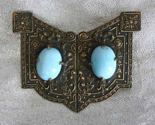 Turquoise Cabochon Brooch 19th century Antique Victorian Ancient Style Glass