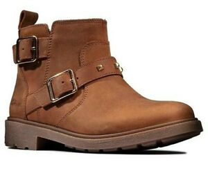Clarks ASTROL TRIM JNR Girls Brown Leather Boots 10-2 GFit