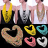 Fashion Multilayer Chain Handmade Resin Seed Beads Choker Pendant Bib Necklace