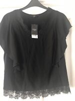 Lovely Black Top With Lace Detail By NEXT RRP £26 Ladies Size 14 BNWT