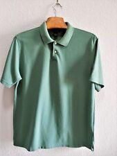 Mens Clothes Size L Large Green Ribbed Polo Shirt Short Sleeve EUC Van Heusen