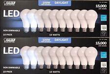 FEIT Electric 100W Led Bulbs 15W Daylight 1600 Lumens - 20 Pack