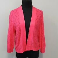 89th & Madison Hot Pink Open Front long sleeve knit Cardigan Size Medium