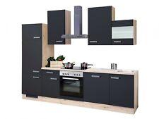 Küchenzeile 280 cm Anthrazit/San Remo Eiche mit Geräten - Lino