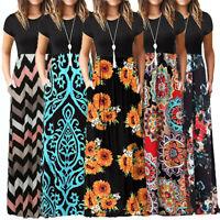 Fashion Women's Summer Casual Short Sleeve O-neck Print Maxi Tank Long Dress US