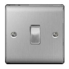 BG Nexus 2 Way Light Switch Brushed Steel Satin Chrome NBS12 1 Gang 10amp