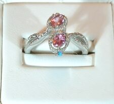 PINK TOURMALINE AZ. SLEEPING BEAUTY TURQUOISE PLATINUM O S.S. BYPASS RING SIZE 8