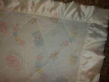 Vintage Bunny Teddy Bear Acrylic Nylon Binding Baby Crib Quilt Blanket Comforter