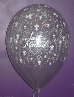 """Qualatex 16"""" Just Married Flowers around Diamond Clear Latex Balloons"""