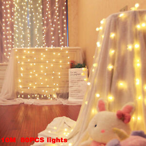 80 LED Curtain Fairy Lights Indoor/Outdoor Wedding Party Christmas Room Decor