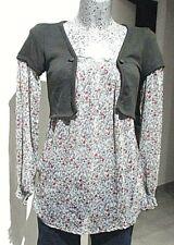 tunique femme fleuri taille S 36 38 haut top 2en1 gilet boléro woman blouse