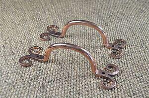 Pair beautiful pure copper ancient English folk art door handle pull CCP