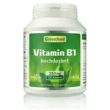 Greenfood Vitamin B1, 250mg, hochdosiert, 120 Kapseln - vegan