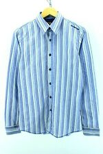Energie Men's Shirt Size S Small Blue Sriped Long Sleeve Slim Fit Cotton CD976