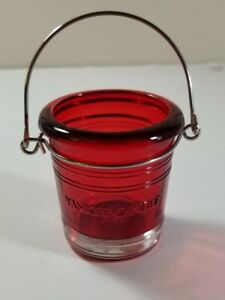 Yankee Candle - RED BUCKET - Colored Glass With Logo Votive Holder NEW with Tags