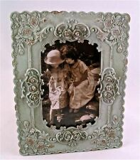 "Shabby Distressed SAGE w ROSES & CRYSTALS Chic Picture/Photo Frame~8.5"" x 6.5"""