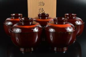 #6874: Japanese Wooden Lacquer ware LID BOWL Bundle sale w/box Tea Ceremony
