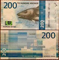 NORWAY 200 KRONER 2016 (2017) P 55 UNC
